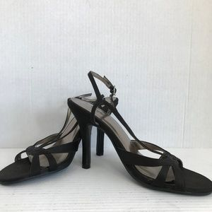 """Size 6 Mossimo Black Strappy Open Toe 4"""" Heels NEW"""